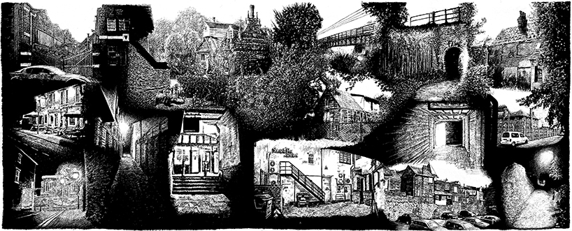 snublic drawing illustration artwork ink black and white topical political social satire satirical commission sketch pen cross hatch limited edition giclee prints available £60 townscape colchester scene urban backstreets