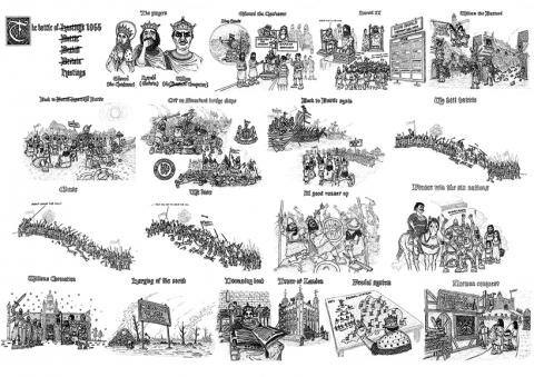 battle of hastings cartoon depiction funny satirical humorous sketch presentation Neil Utley snublic drawing illustration artwork ink black and white topical political social satire satirical commission sketch pen cross hatch