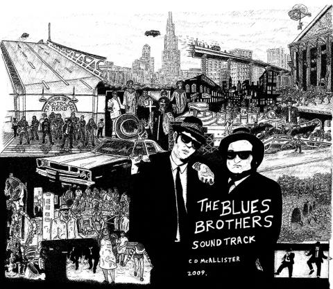 blues brothers movie present gift commission cd music vinyl cover snublic drawing illustration artwork ink black and white topical political social satire satirical commission sketch pen cross hatch