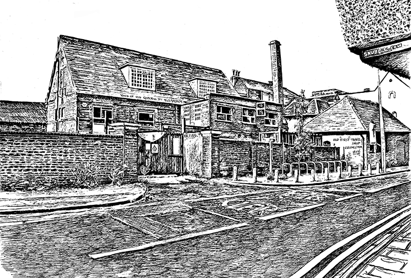 Colchester Bus Depot urban landscape town scene historic prints giclee limited edition snublic drawing illustration artwork ink black and white topical political social satire satirical commission sketch pen cross hatch