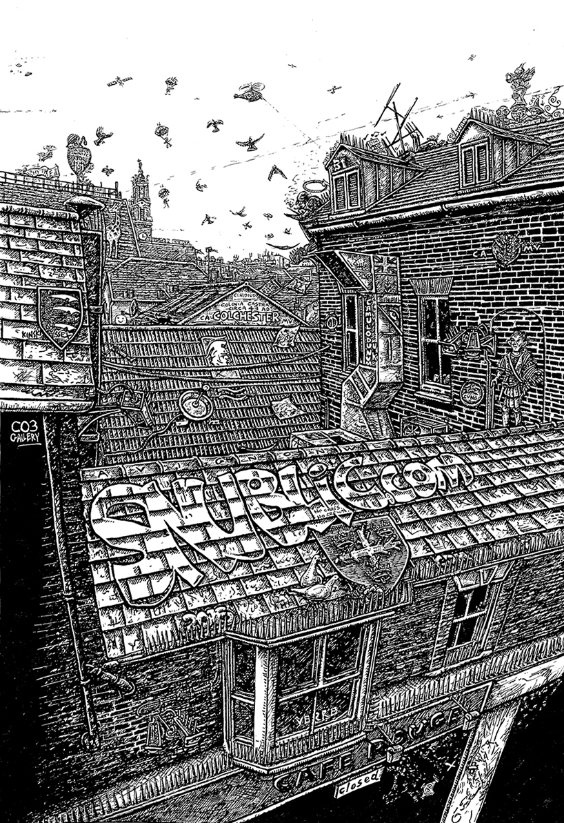 View of Colchester Roof Tops from St Nicholas House. Signed limited edition (100) Giclee prints available (£60) drawing sketch heritage old townscape ink pencil illustration