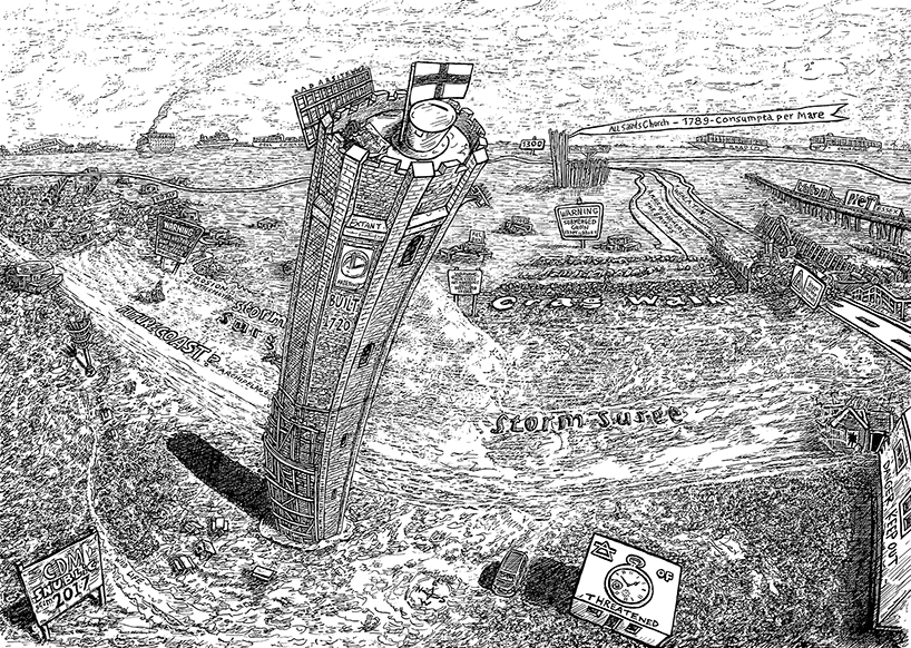snublic Colin McAllister drawings illustration black and white sketch scene art topical cartoon colchester walton on the naze tower sea consumpta per mare erosion lost swallowed history coastal erosion england global warming