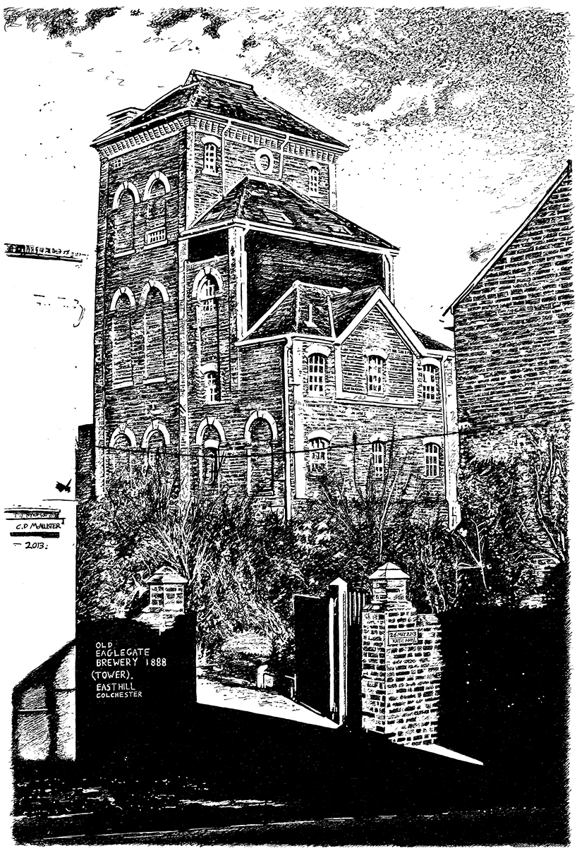 snublic drawing illustration artwork ink black and white topical political social satire satirical commission sketch pen cross hatch limited edition giclee prints available £60 townscape colchester scene urban old brewery