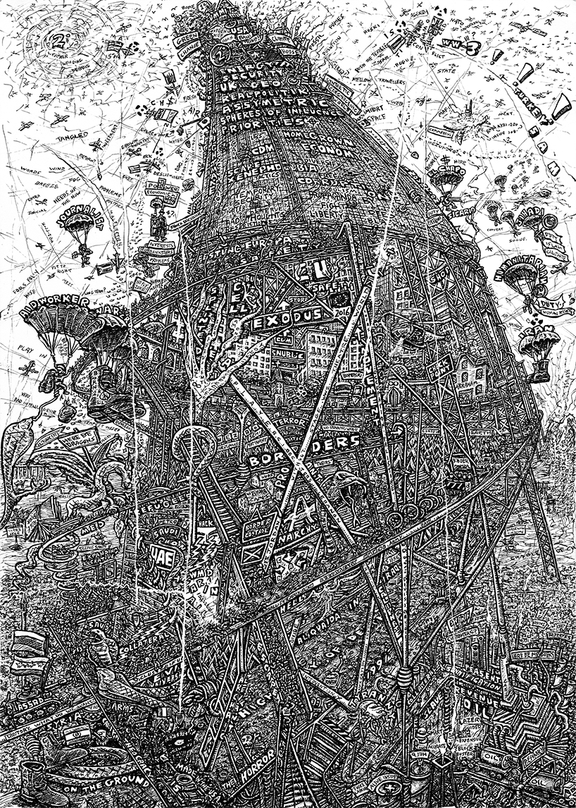 Indian Ink on paper. 12 H x 16 W in.  Revisiting an old composition concerning the Tower Of Babel and portraying the Syrian refugee crisis as a sinister game of snakes and ladders. Turmoil and war rage below, whilst disinterested wroth and confusion preva