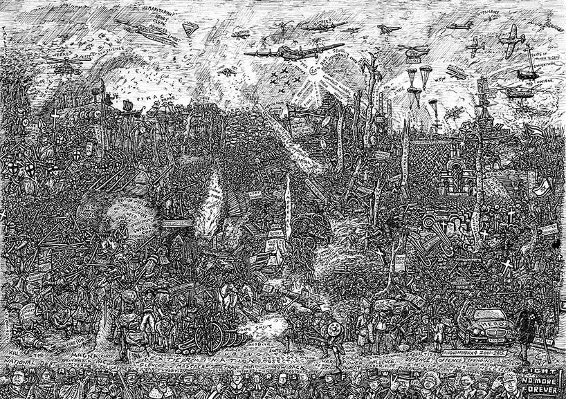 Indian Ink on paper. 12 H x 16 W in.  Retrospective of English warfare over nearly a thousand years coming to an end.  Signed limited edition (250) Giclee prints available. (£100) 12 H x 16 W in snublic