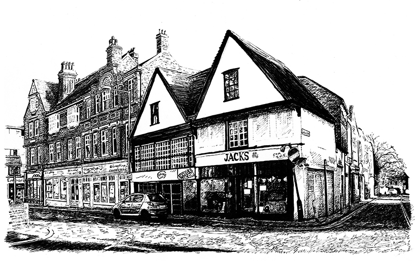 Colchester urban town scene landscape Jacks bank old historic snublic drawing illustration artwork ink black and white topical political social satire satirical commission sketch pen cross hatch