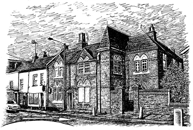 colchester scene urban town orhphanage east hill snublic drawing illustration artwork ink black and white topical political social satire satirical commission sketch pen cross hatch