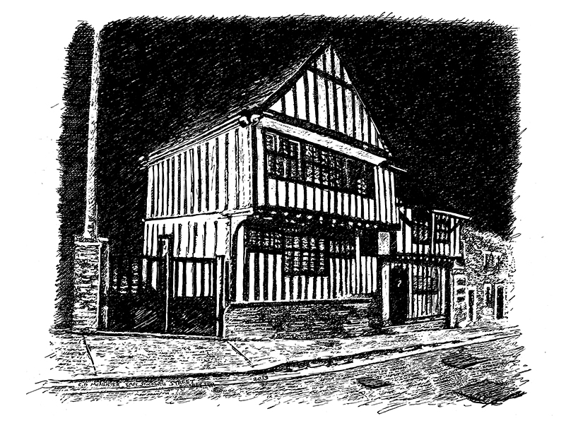 snublic drawing illustration artwork ink black and white topical political social satire satirical commission sketch pen cross hatch limited edition giclee prints available £60 townscape colchester scene urban pakes house dutch quarter old historic