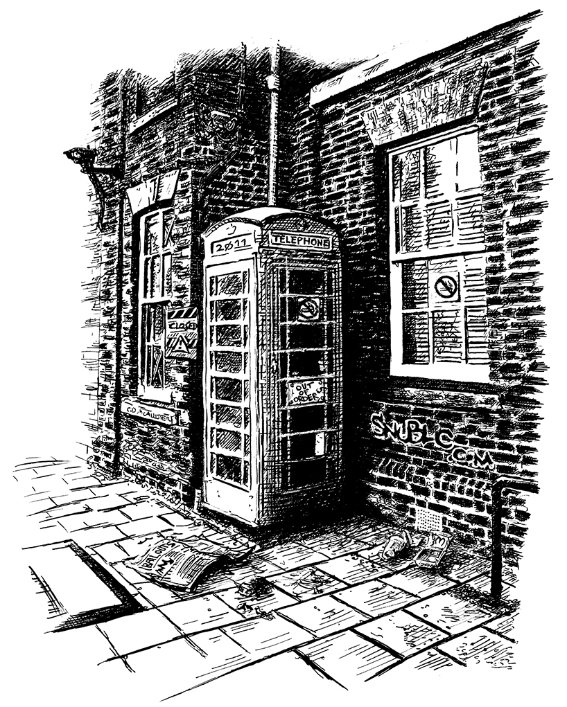 colchester urban scene phone box high street bail outs trash snublic drawing illustration artwork ink black and white topical political social satire satirical commission sketch pen cross hatch
