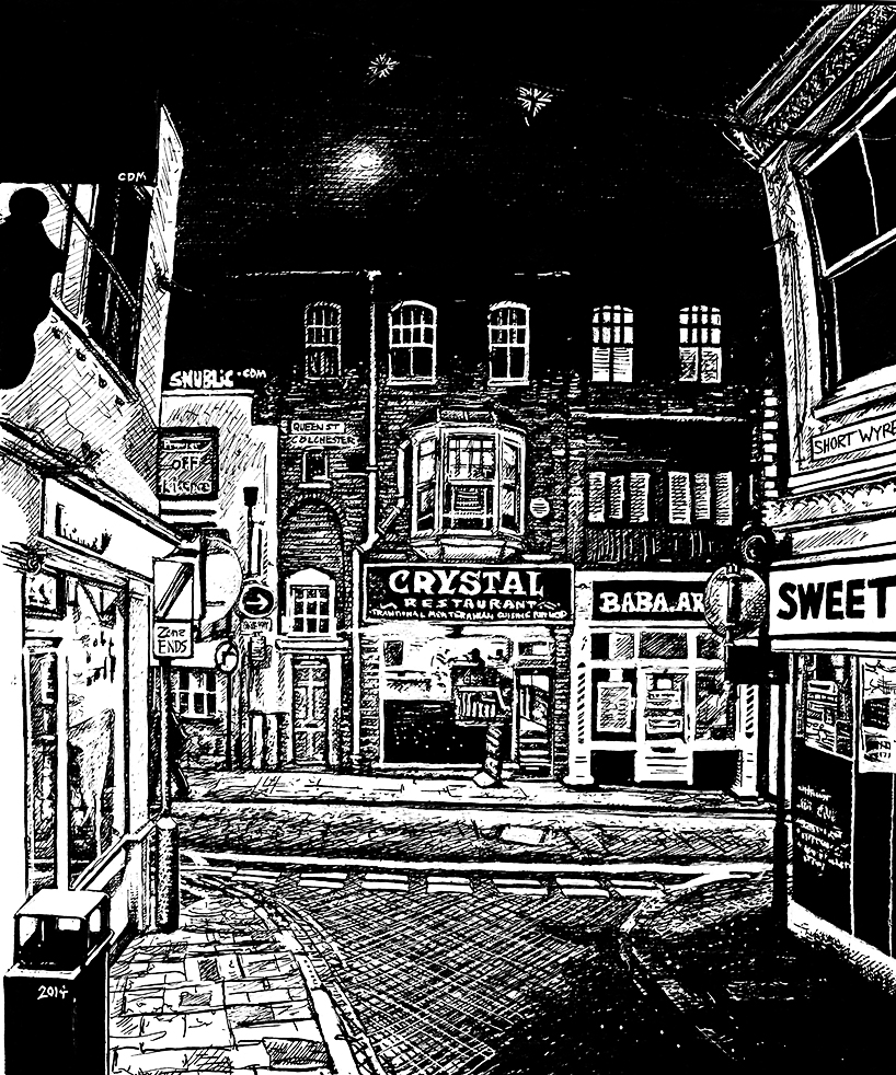 snublic drawing illustration artwork ink black and white topical political social satire satirical commission sketch pen cross hatch limited edition giclee prints available £60 townscape colchester scene urban queen street