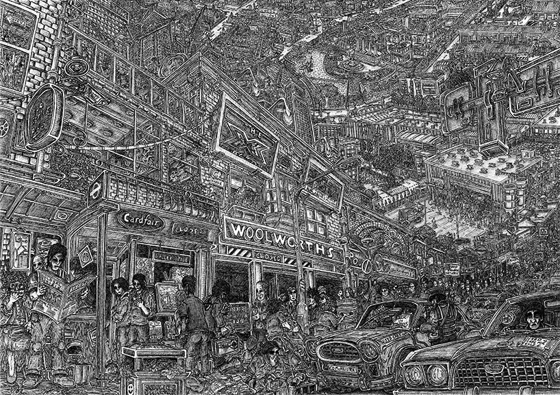 Pen on paper. 16 H x 23 W in.  View of life amid the recession in the UK.  Signed limited edition (250) Giclee prints available. (£100) 16 H x 23 W in snublic
