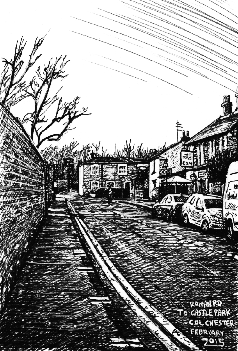snublic drawing illustration artwork ink black and white topical political social satire satirical commission sketch pen cross hatch limited edition giclee prints available £100 roman road foresters pub colchester urban townscape landscape scene