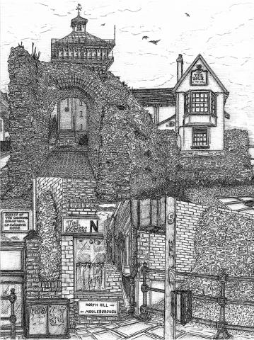 snublic drawing illustration artwork ink black and white topical political social satire satirical commission sketch pen cross hatch limited edition giclee prints available £100 Roman Wall Colchester urban scene landscape historic water tower jumbo