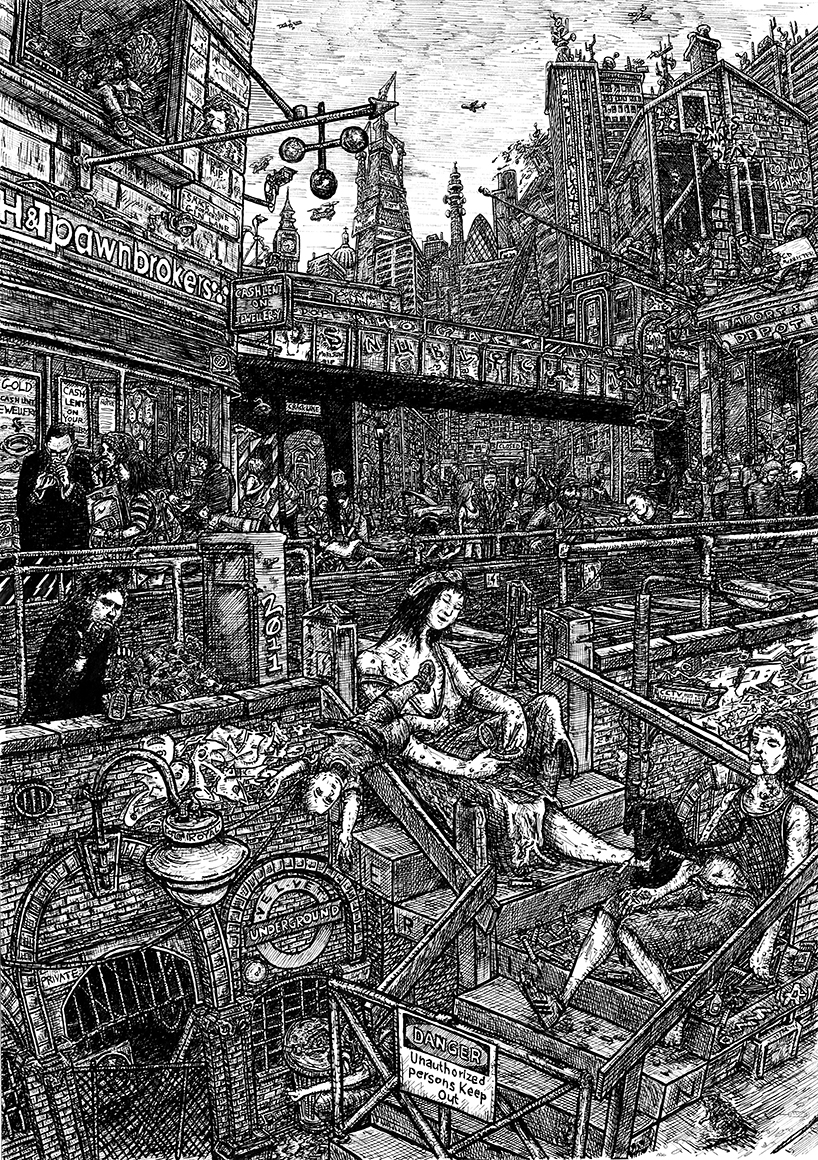 Indian Ink on paper. 23 H x 16 W in.  An update of William Hogarth's 1751 painting/ print 'Gin Lane' Displaying London's dark & meritless modern vice, heroin.  Signed limited edition (250) Giclee prints available. (£100) 23 H x 16 W in snublic