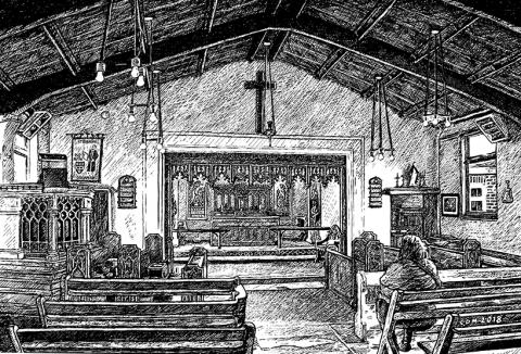 St Barnabas, Colchester Church, landscape urban scene gilberd scott, traditional, sketch, black and white, ink illustration snublic.com snublic drawing