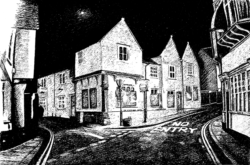 snublic drawing illustration artwork ink black and white topical political social satire satirical commission sketch pen cross hatch limited edition giclee prints available £60 townscape colchester scene urban stockwell arms