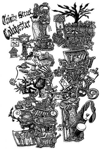 map trinity street colchester cartoon representation local business snublic drawing illustration artwork ink black and white topical political social satire satirical commission sketch pen cross hatch