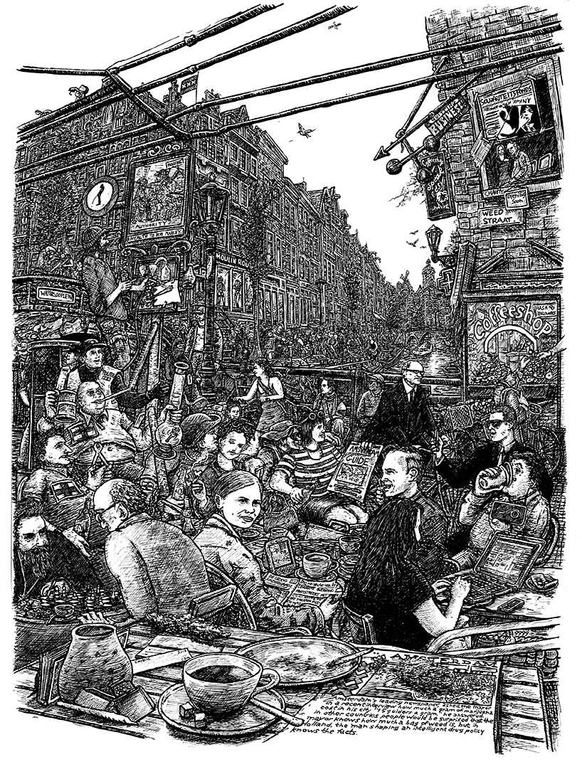 Indian Ink on paper. 23 H x 16 W in.  An update of William Hogarth's 1751 painting/print 'Beer Street' My version as a counterpart to Smack Lane displays the merits of Amsterdam's liberal laws on natural herbal drugs.  Signed limited edition (250) Giclee